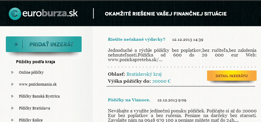 euroburza.sk inzercia pôžičiek podľa kraja