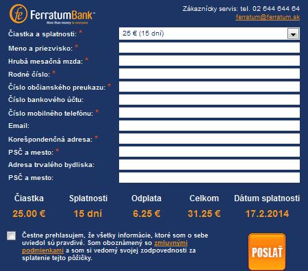 Žiadosť o pôžičku ferratum