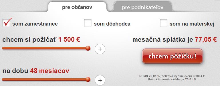 ProfiCredit úverová kalkulačka